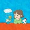 花の成長を見守る少女