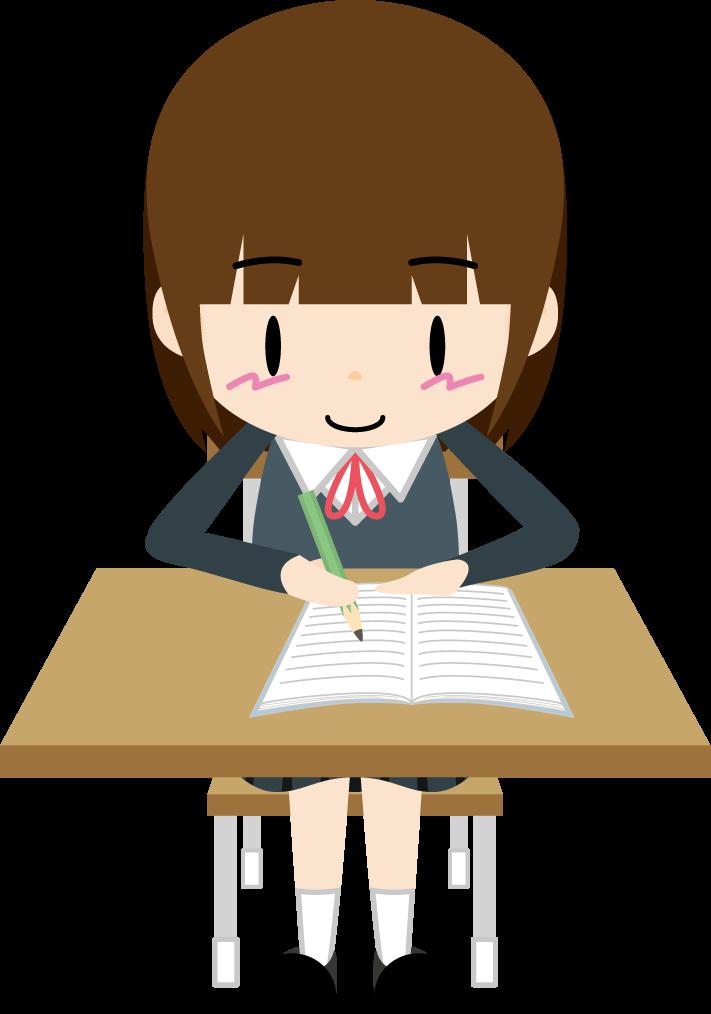 自習する女子生徒